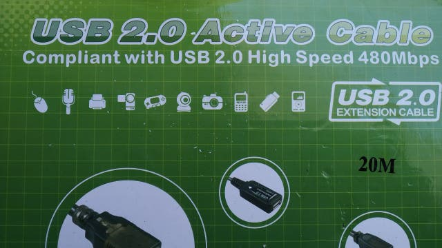 Prolongador USB Alfa de 20m con repetidor activo