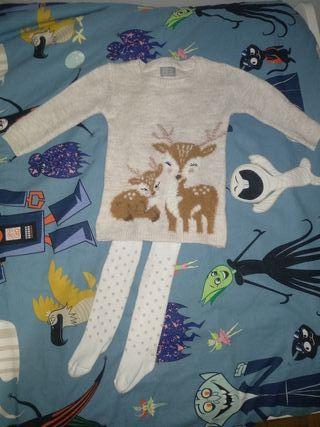 Conjunto vestido y leotardos bebé niña