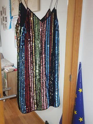 Vestido cóctel, lentejuelas multicolor T.38
