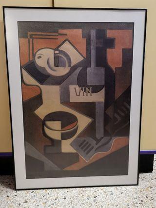 Cuadro con làmina de Juan Gris, Botella de vino.
