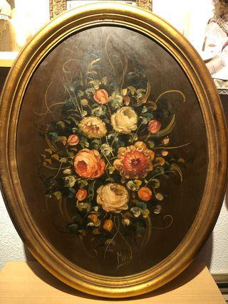 Cuadro pintado al oleo de flores