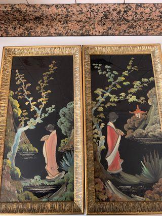 Cuadros pintados a mano geisha