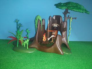 Campamento primitivo playmobil