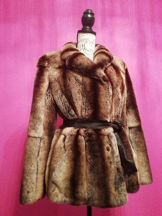 abrigo peletería piel chinchilla
