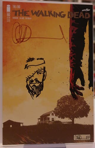 WALKING DEAD #193 sketch y firma de Charlie Adlard
