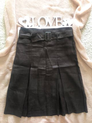 Falda midi/marrón zara