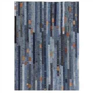 Alfombra patchwork cinturilla de vaqueros azul 80