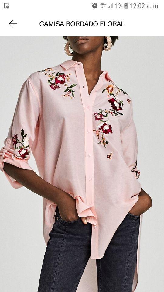 Camisa Bordada Zara Talla L
