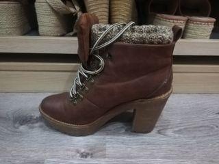 botín marrón tacón grueso