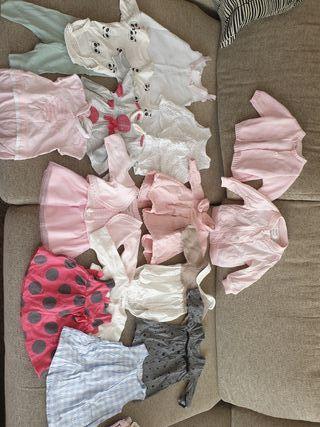 12 vestidos bebé niña 0-1 mes y de 1-3 meses