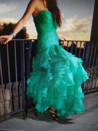 vestido largo verde fiesta eventos bodas