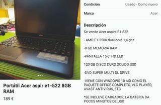Portátil Acer Aspire e1-522 8Gb RAM
