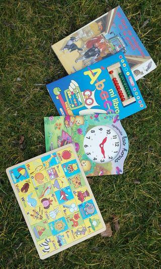 Puzzle abecedario, libros reloj, ábaco y granja