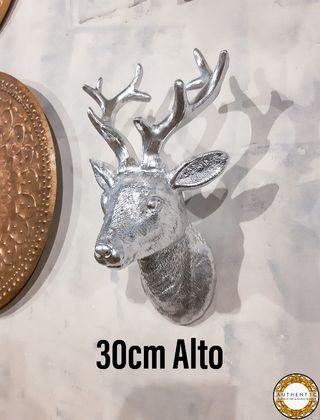 Cabeza Ciervo Plata Cromo 30cm Alto Pared