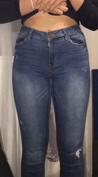 Pantalon taille haute bleu foncé