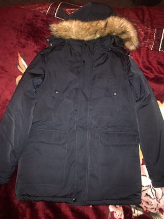 Blend Dark Blue Thick Winter Jacket with Fur Hood