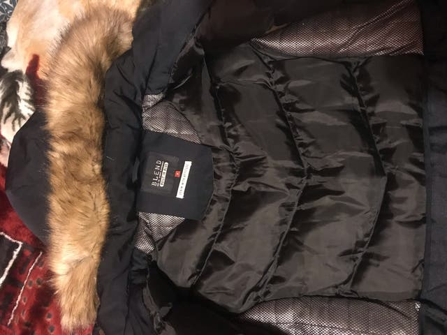 Blend Dark Blue Thick Winter Jacket with Fur Hood