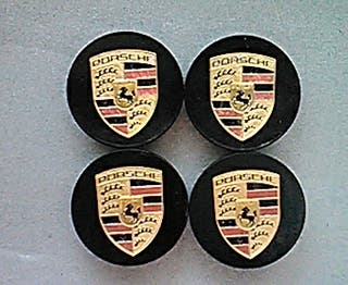 Tapabujes centro de ruedas Porsche oro-negro 76mm