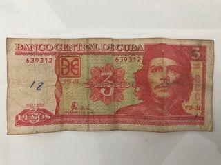Billete 3 pesos cubano Che