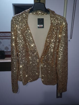 chaqueta lentejuelas dorada