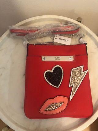 Bolso rojo mujer parches GUESS Lipstick NUEVO