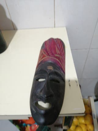 careta madera tallada Perú 35cm 1960