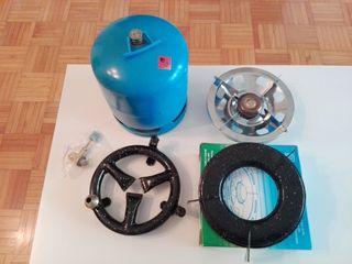 Bombona azul camping gaz, hornillo y quemador