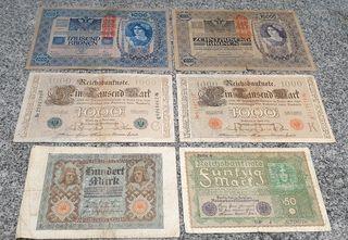 Lote billetes Alemanes antiguos originale BC y MBC