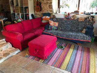 Sofa 3 plazas ikea + puff + sofa cama