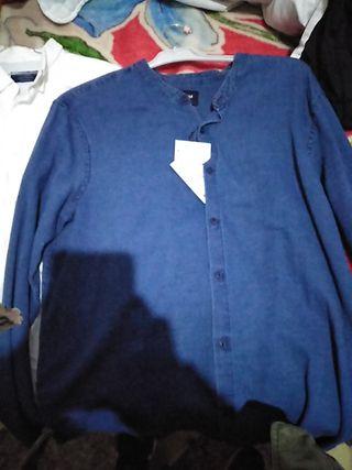 camisas manga larga blanca y azul talla L