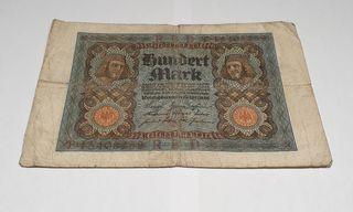 Billete antiguo 100 marcos Alemanes 1920 BC+