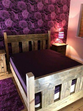 handmade chunky rustic bed frame oak finishes