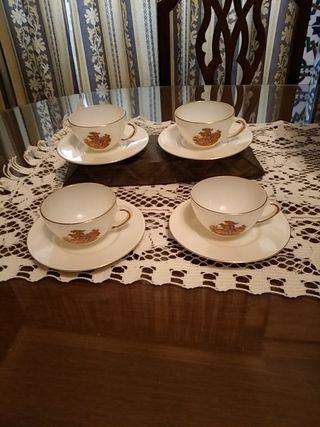 4 café de café fino vintage con filo en oro