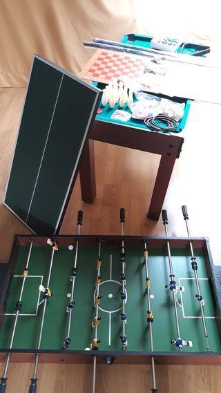 Mesa futbolín, billar, múltiples juegos