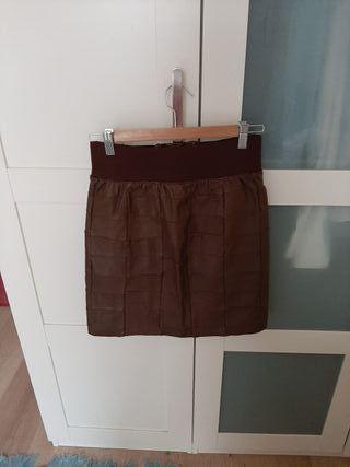 Falda de cuero marrón Talla M