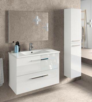 Juego mueble baño 2 cajones con espejo lavabo