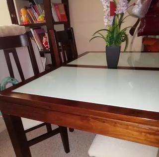 Conjunto mesa salón alta con sillas y mesa baja