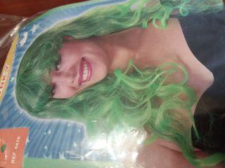 Peluca larga verde