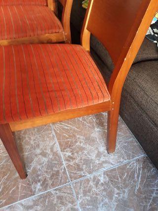 sillas 6 a rallitas marrones con naranja