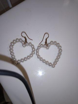 pendientes corazon perla