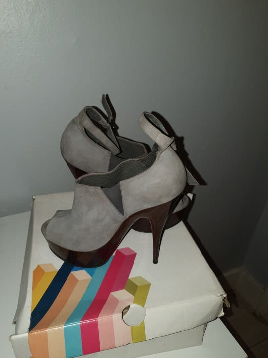 Grey heeled shoes