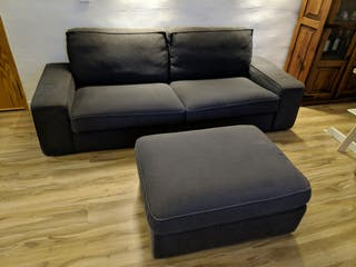 Sofá 3 Plazas+Reposapiés/Puf+Butaca gris antracita