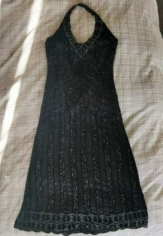 Beaded black midi dress
