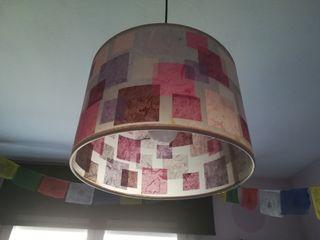 lámpara lila artesanal, solo pantalla, sin cables