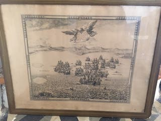 Cuadro antiguo batalla naval