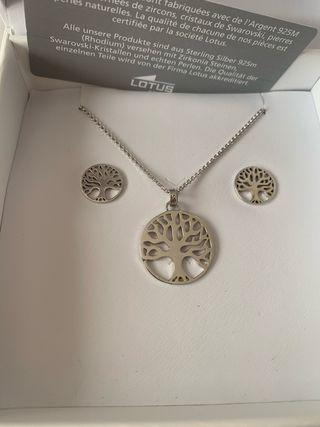 Conjunto colgante/pendientes Lotus árbol de vida
