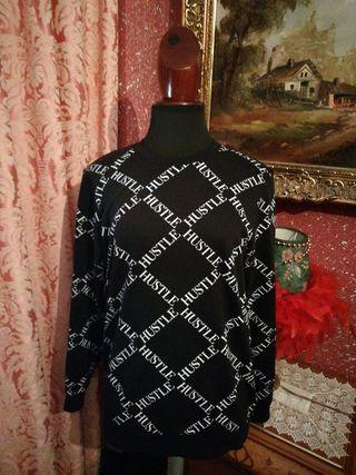 Sudadera jersey chándal talla S negra letras