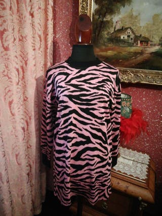 Vestido talla S rosa negro rayas estampado cebra