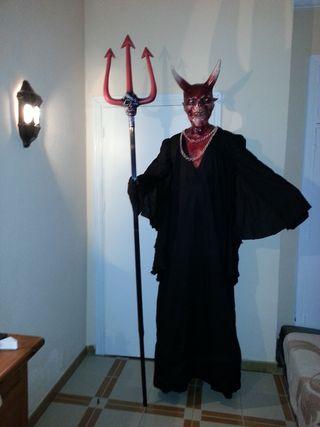 Disfraz diablo: máscara, tridente y traje
