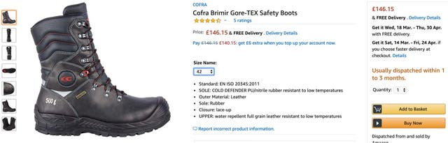 Safety boots - COFRA - size: 42EU / 8UK